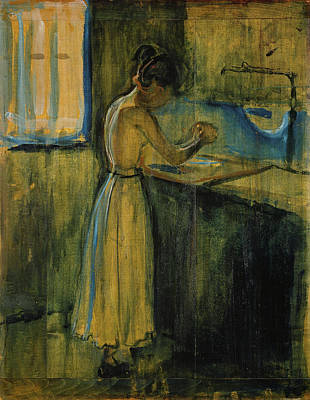 Make-up Painting - Young Woman Washing Herself by Edvard Munch