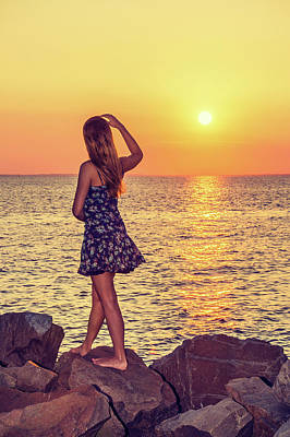 Photograph - Young Woman Watching Sunset by Alexander Image