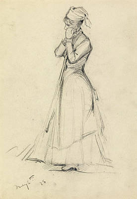 Dennis Miller Wall Art - Drawing - Young Woman With A Broom by Dennis Miller Bunker