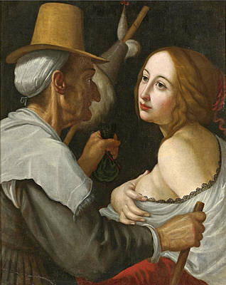 Painting - Young Woman With A Fortune Teller by Studio of Cesare Dandini