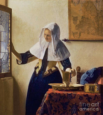 Netherlands Map Painting - Young Woman With A Water Jug by Jan Vermeer