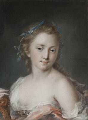 Venetian Art Pastel - Young Woman With A Wreath Of Laurels by Rosalba Carriera