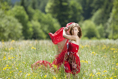 Young Woman With Cloth In A Flower Meadow Art Print by Wolfgang Steiner