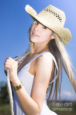Young Woman With Cowboy Hat Art Print by Jorgo Photography - Wall Art Gallery