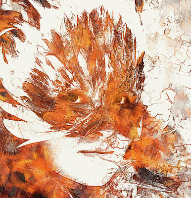 Youthful Painting - Young Woman With Feather Carnival Face Mask. Woman Goddess And Crackle Effect. by Jozef Klopacka