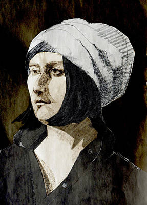 Painting - Portrait Of A Young Woman With Hat In The Dark by Greta Corens