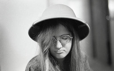 Photograph - Young Woman With Long Hair, Wearing A Pith Helmet, 1972 by Jeremy Butler