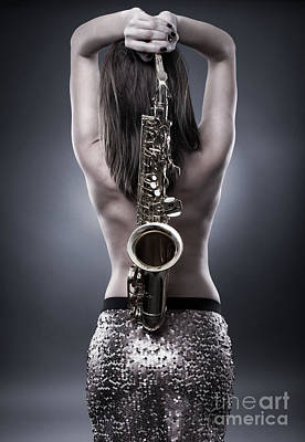 Saxophone Photograph - Young Woman With Saxophone by Catalin Petolea