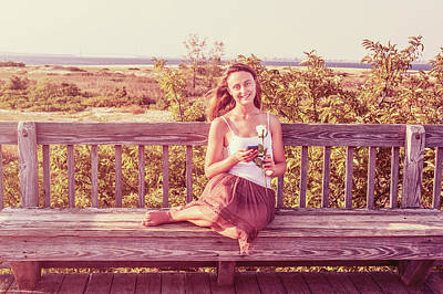Photograph - Young Woman With White Rose, Waiting For You Outside by Alexander Image