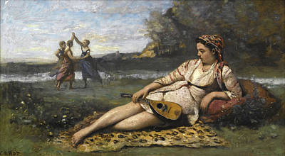 Reclining Painting - Young Women Of Sparta by Camille Corot