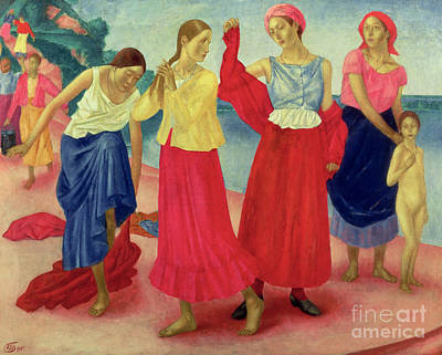 People On Beach Wall Art - Painting - Young Women On The Volga, 1915 by Kuzma Sergeevich Petrov-Vodkin