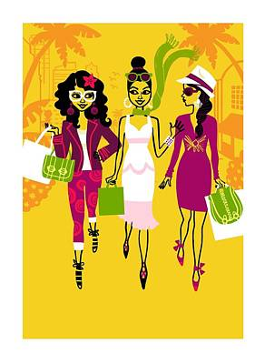 Young Women With Shopping Bags Art Print by Gillham Studios