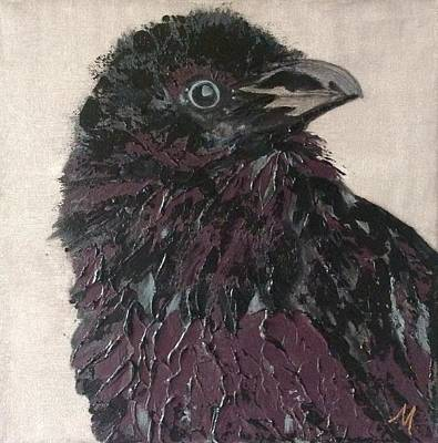 Raven Painting - Youngling by Mary Papageorgiou