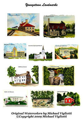 Youngstown Ohio Painting - Youngstown Landmarks Montage 2 by Michael Vigliotti