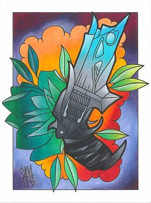 Tattoo Art Mixed Media - Your Colors In The Clouds - A Rose And It's Thorn by Christopher Nettle