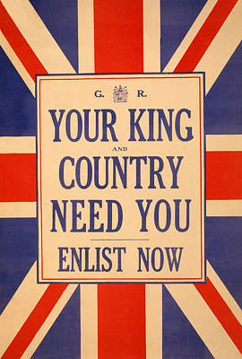Blue And Red Painting - Your King And Country Need You by English School