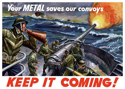 Political Art Painting - Your Metal Saves Our Convoys by War Is Hell Store