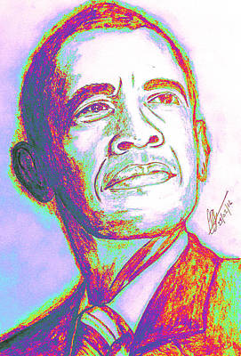 Barack Obama Drawing - Your President  by Collin A Clarke