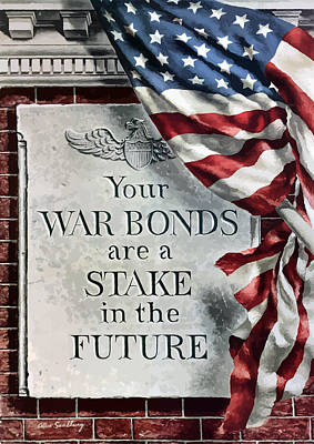 Patriotic Flag Painting - Your War Bonds Are A Stake In The Future by War Is Hell Store