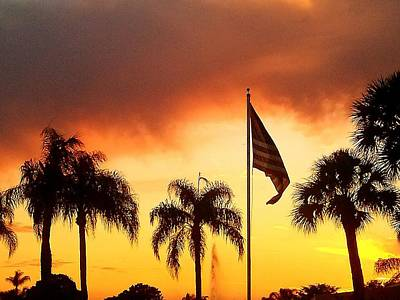 Proud Palm Trees N Old Glory Art Print by Judith Asmus Hill