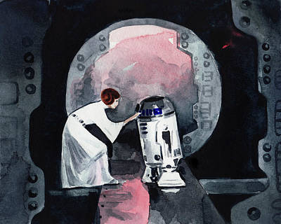 Chewbacca Painting - You're My Only Hope Princess Leia And R2d2 by Laura Row