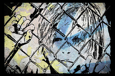 Youth Behind The Fence Art Print