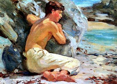 Painting - Youth In White Trousers by Henry Scott Tuke