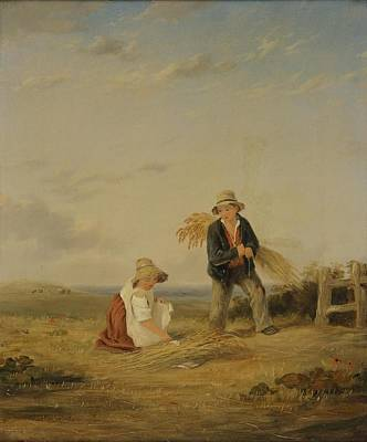 Youthful Painting - Youthful Gleaners by William Collins