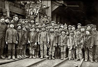 Youthful Painting - Youthful Mining Crew by Lewis Wickes