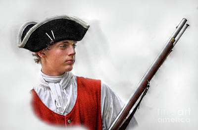 Seven Years War Digital Art - Youthful Soldier With Musket by Randy Steele