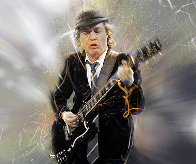 Angus Young Digital Art - You've Been Thunderstruck by Mal Bray