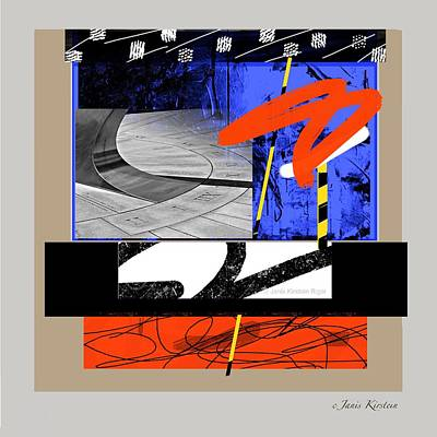 Abstract Movement Mixed Media - Yowza 1 by Janis Kirstein