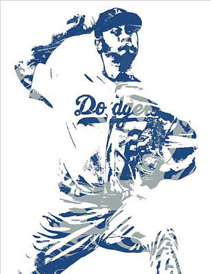 Mixed Media - Yu Darvish Los Angeles Dodgers Pixel Art 5 by Joe Hamilton