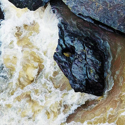 Digital Art - Yuba Blue Boulder In Stormy Waters by Lisa Redfern