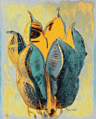 Painting - Yucca Pod Teal And Yellow by Barbara Chichester