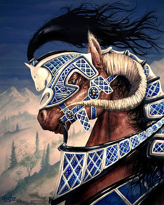 Art Print featuring the painting Yuellas The Bulvaen Horse by Curtiss Shaffer