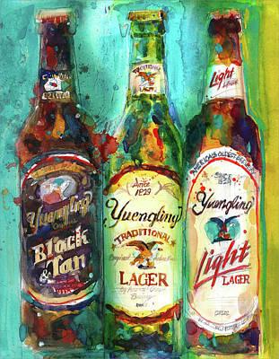 Beer Paintings - Yuengling Beers by Dorrie Rifkin