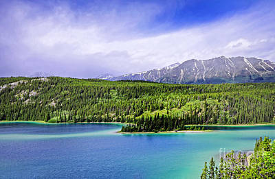 Photograph - Yukon Glacial Mountain And Lake by Charline Xia