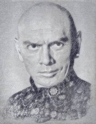 Musicians Drawings Royalty Free Images - Yul Brynner Royalty-Free Image by John Springfield