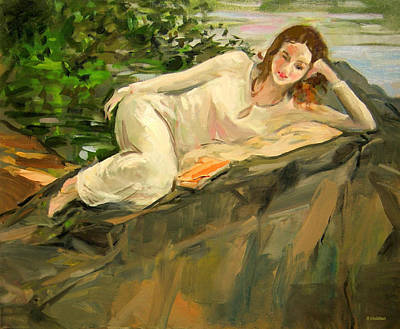 Painting - Yula Reclining On A Rock In Central Park by Robert Holden
