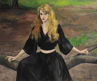Painting - Yula Sitting On A Tree Limb In Central Park by Robert Holden
