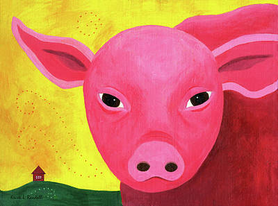 Painting - Yuling The Happy Pig by Kristi L Randall