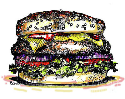 Painting - Yummy Burger by Terry Banderas