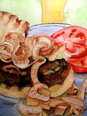 Painting - Yummy Fried Onion Burger by Carol Grimes