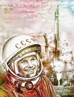 60s Drawing - Yuri Gagarin - Cosmonaut 1961 Watercolor by Ian Gledhill