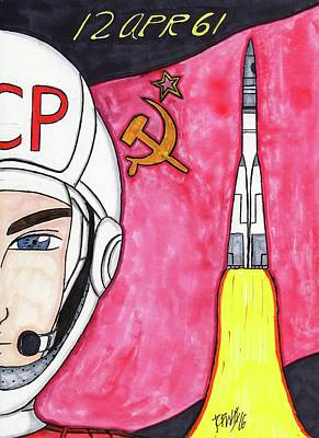 Russian Icon Mixed Media - Yuri Gagarin by Ronald Woods