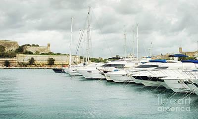 Boat Photograph - Yachts Moored At Msida Marina, Malta by Dani Prints and Images