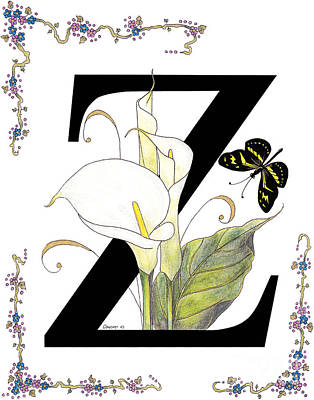 Arum Lily Painting - Z Is For Zantedeschia And A Zebra Butterfly by Stanza Widen