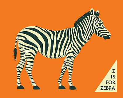 Zebra Digital Art - Z Is For Zebra - 3 by Jazzberry Blue