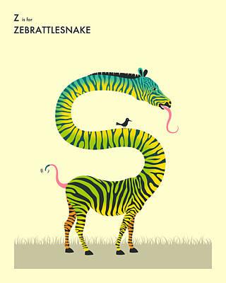 Zebra Digital Art - Z Is For Zebrattlesnake by Jazzberry Blue
